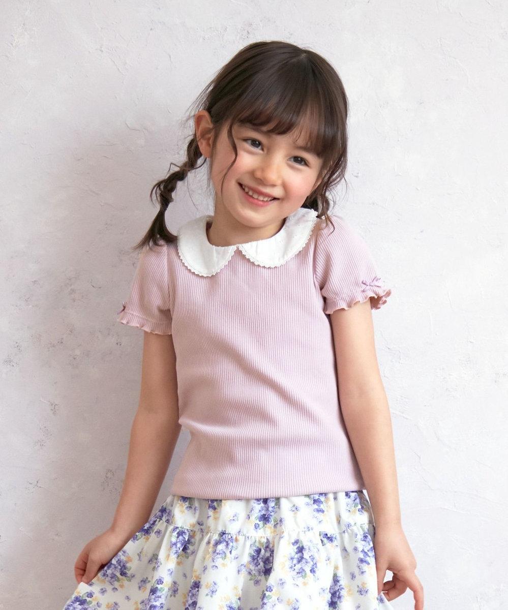 any FAM KIDS 衿付き 半袖Tシャツ ライラック系