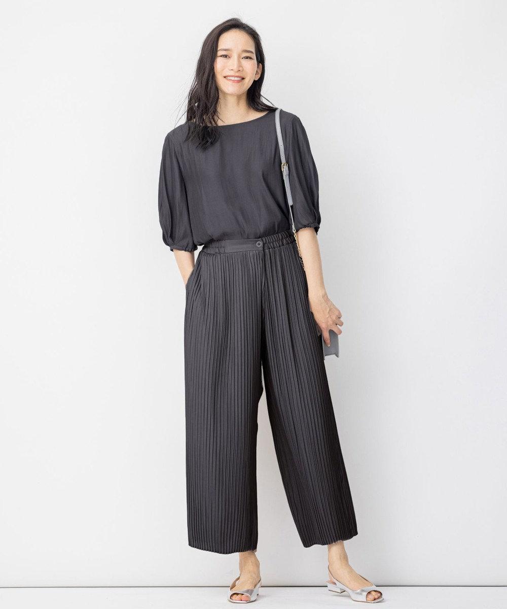 自由区 【Sサイズ有】 マットサテン プリーツ パンツ グレー系