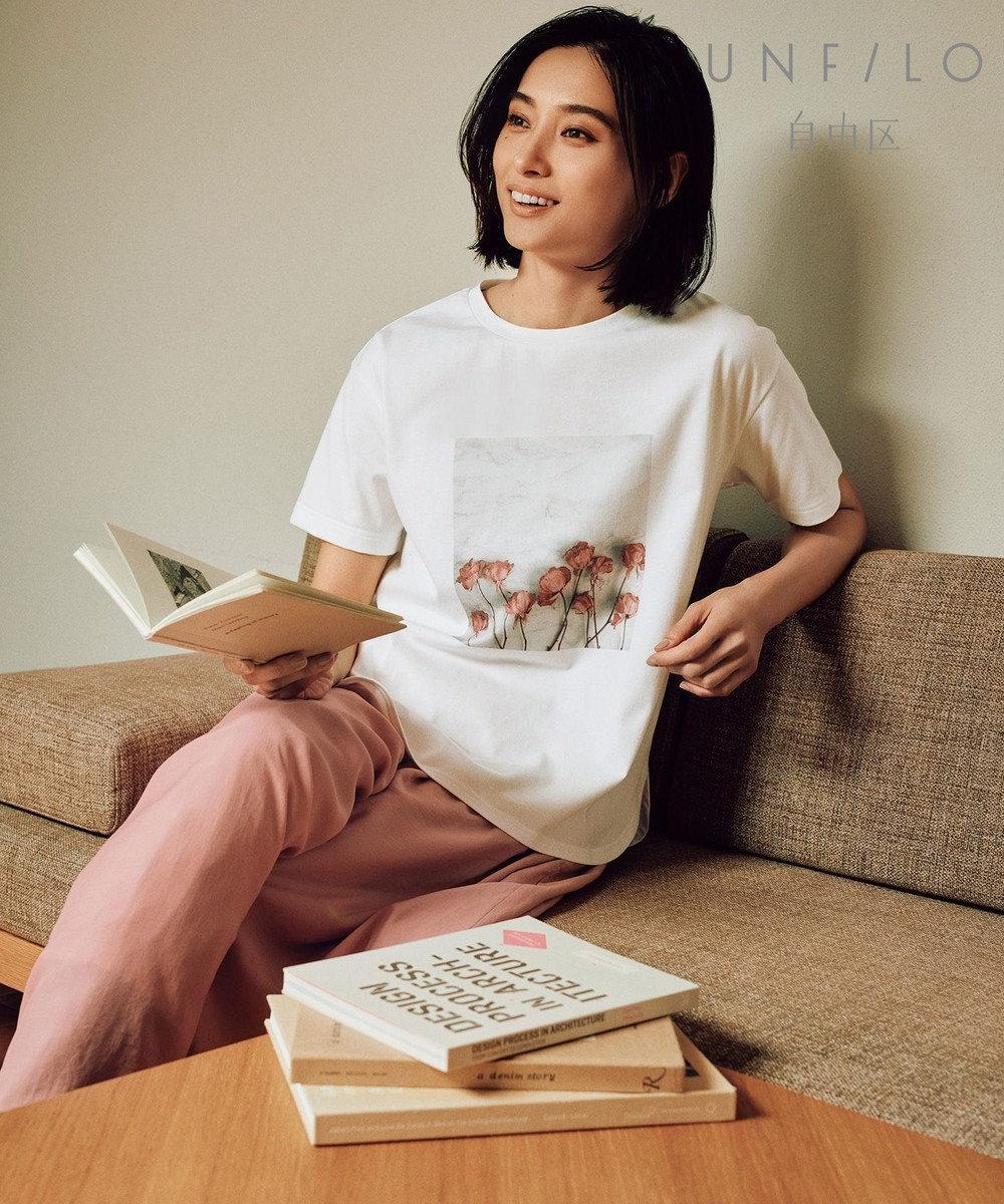 UNFILO L 【UNFILO】オーガニックコットンTEA TEE Tシャツ (検索番号:UK26) オフ(ピンク系プリント)