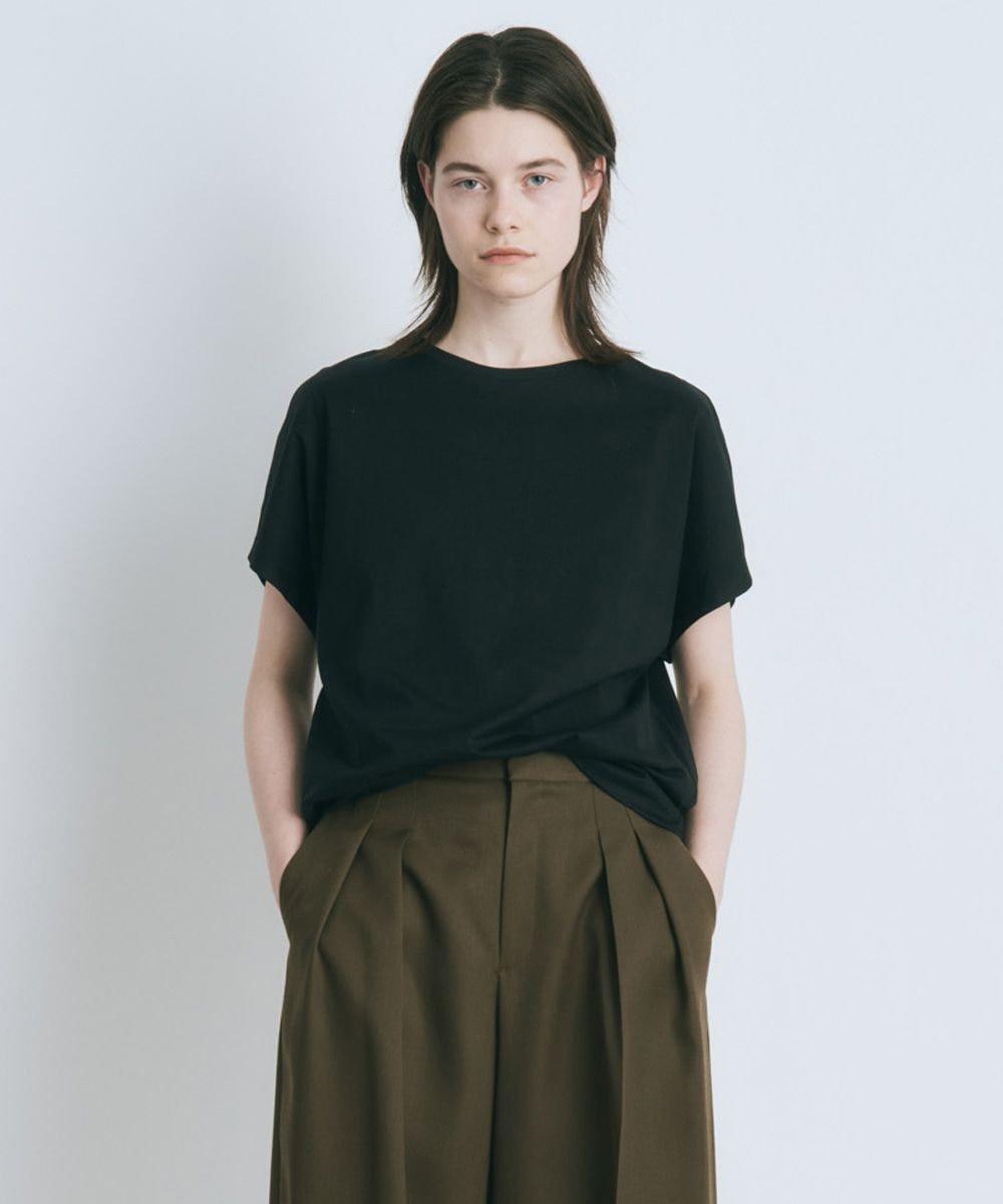 ATON SUVIN 60/2   キャップスリーブTシャツ BLACK