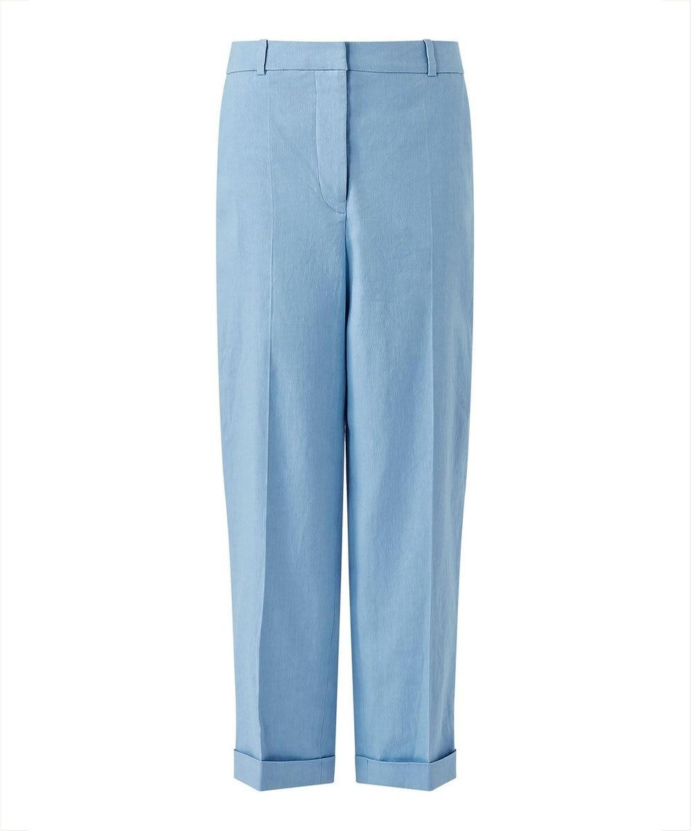 JOSEPH 【柚香 光さん着用】ストレッチリネンコットン パンツ サックスブルー系