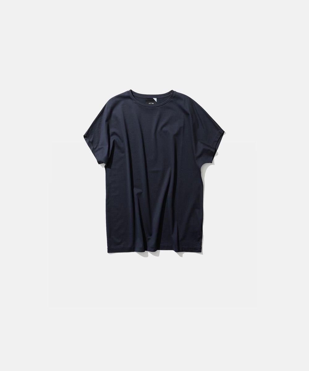 ATON SUVIN 60/2   キャップスリーブTシャツ NAVY