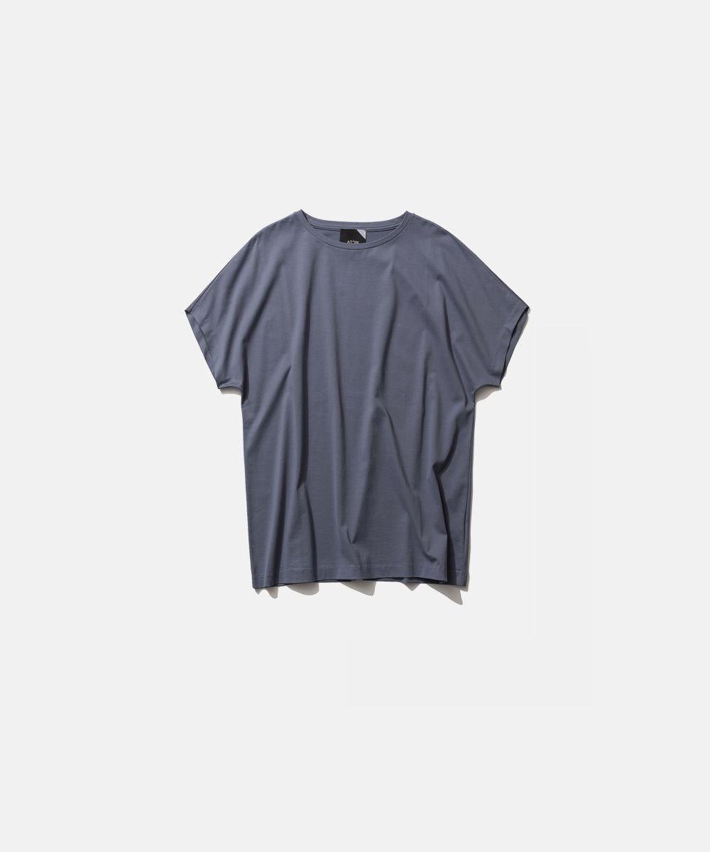 ATON SUVIN 60/2   キャップスリーブTシャツ BLUE