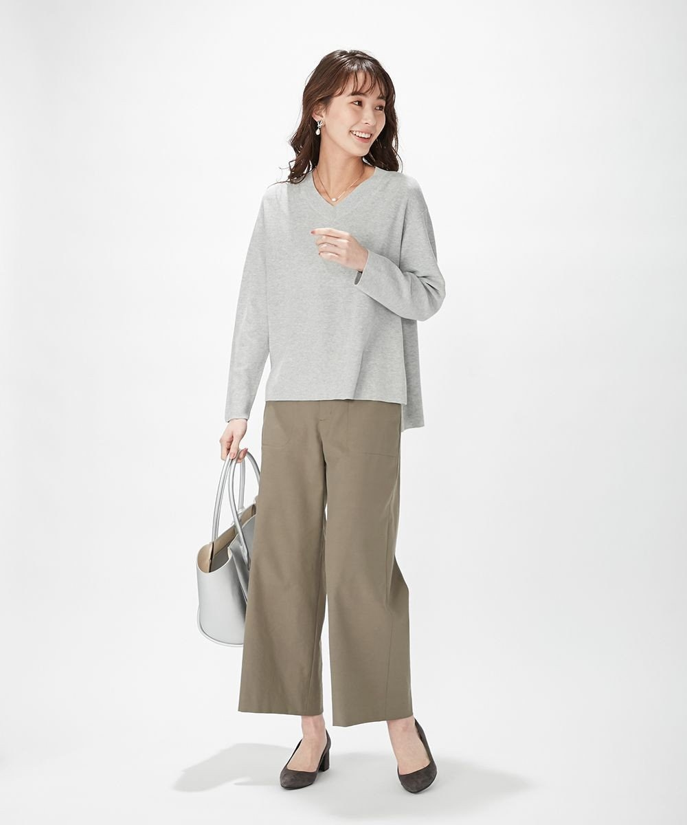 J.PRESS LADIES 【洗える】シェルタリングドライオックス ワイドパンツ ブラウン系