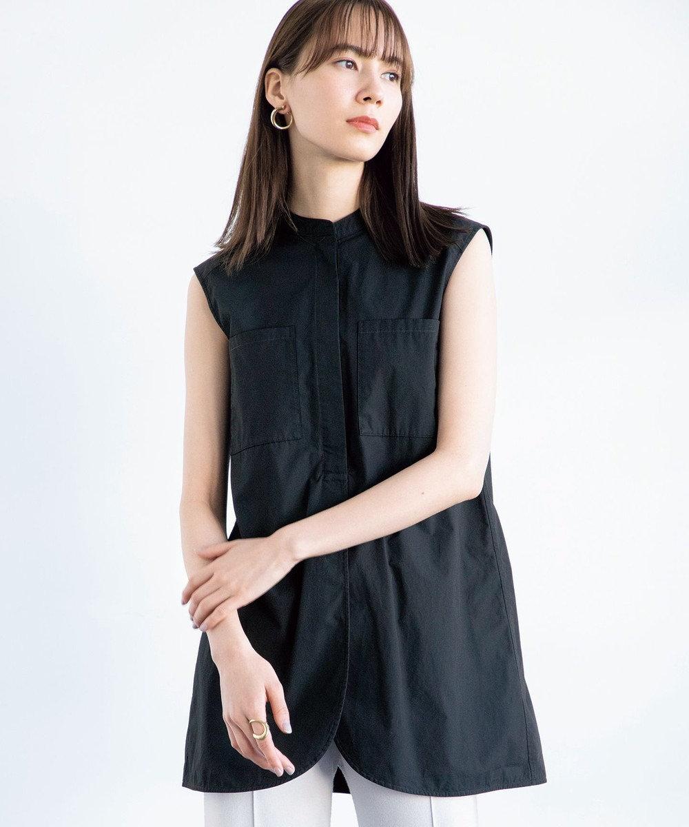 #Newans 【マガジン掲載】バンドカラーノースリーブシャツ(番号NK33) ブラック系