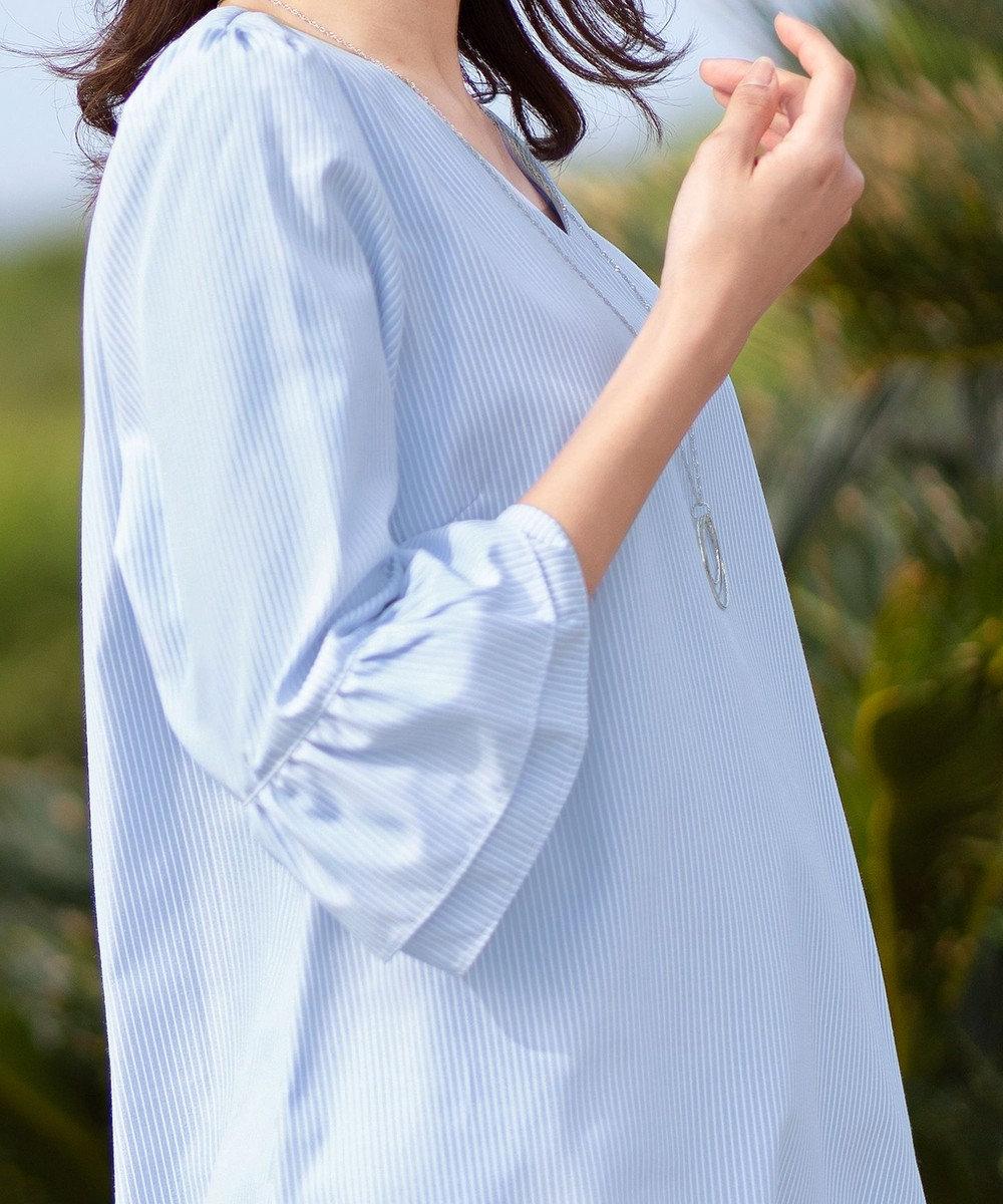 Tiaclasse 【一部在庫あり】【洗える】ティアード袖の程甘Vネック七分袖チュニック サックスストライプ