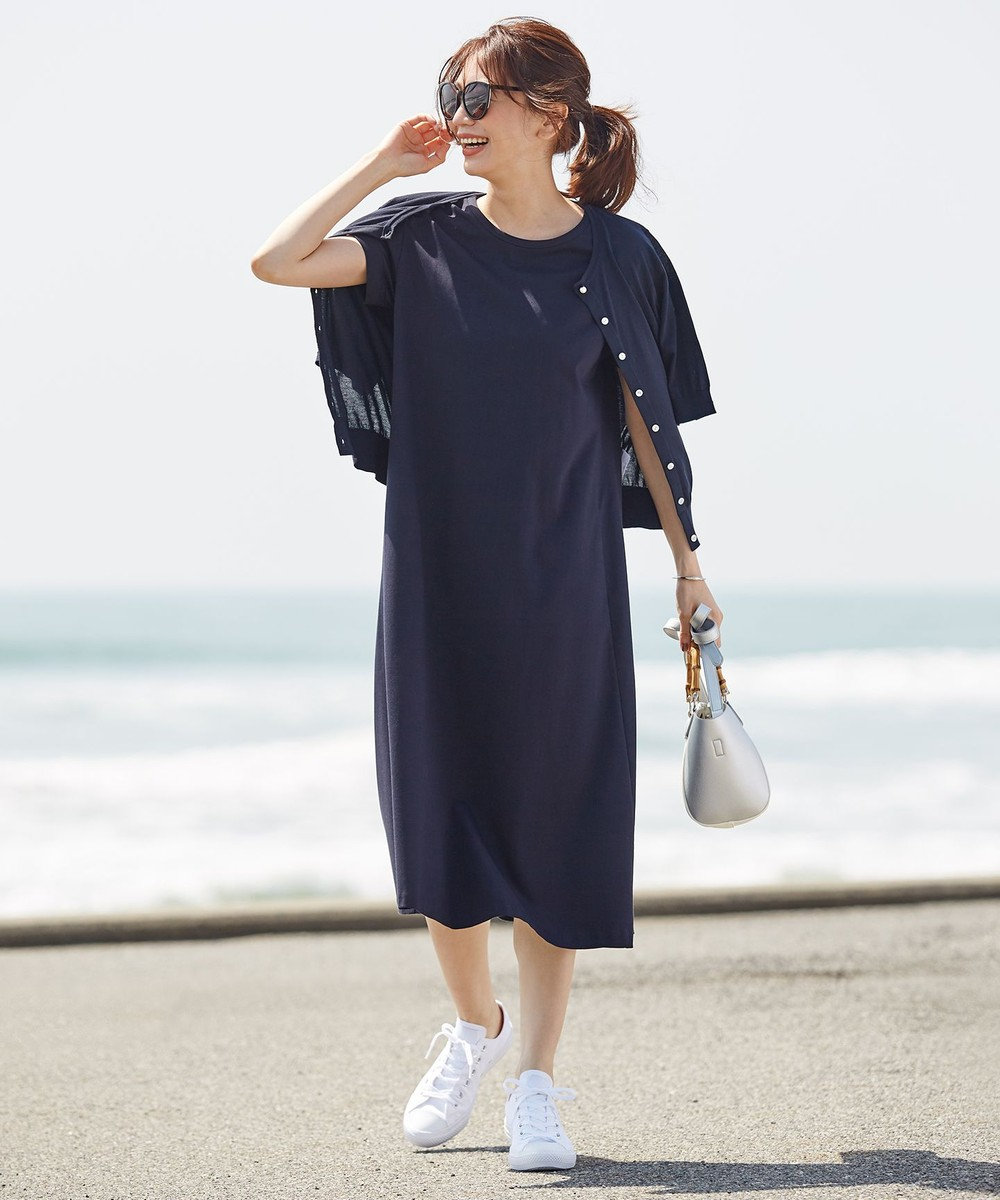 J.PRESS LADIES 【洗える】半袖クルーネック カーディガン ターコイズブルー系