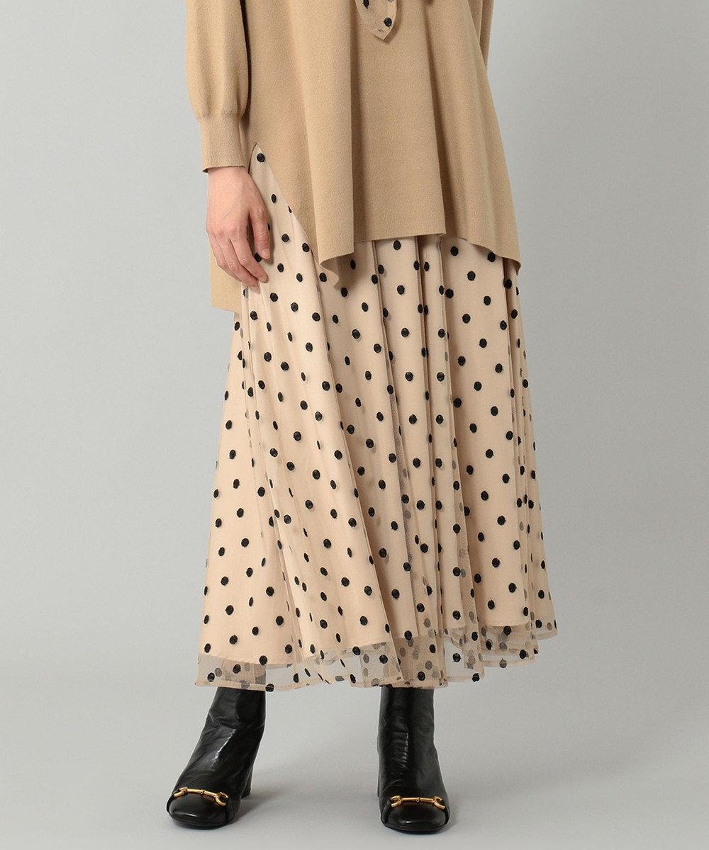 GRACE CONTINENTAL ラメドット刺繍スカート ベージュ