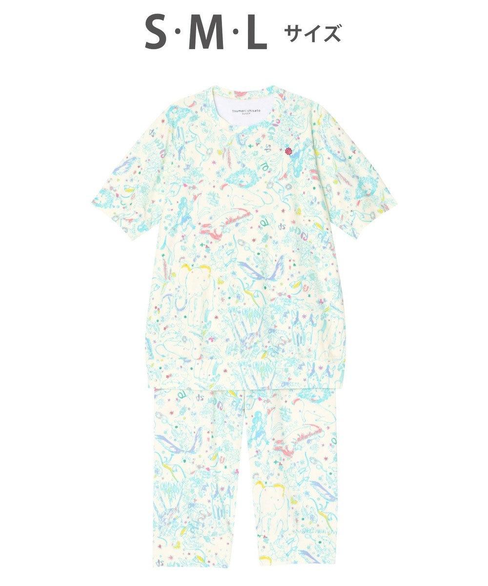 tsumori chisato SLEEP パジャマ 5分袖7分パンツ ファンタジージャングル /ワコール UDP379 クリーム
