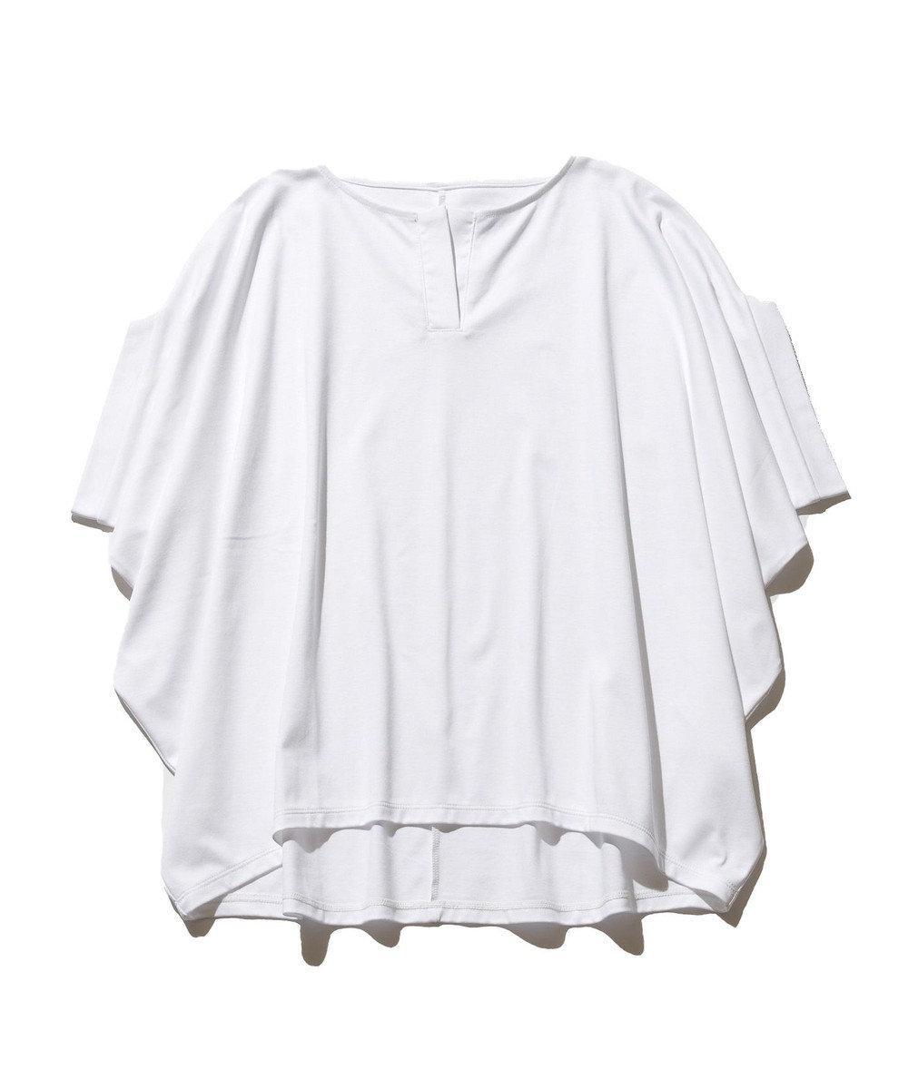 J.PRESS YORK STREET 【WOMEN】ハイゲージスムース キーネック Tシャツ ホワイト系