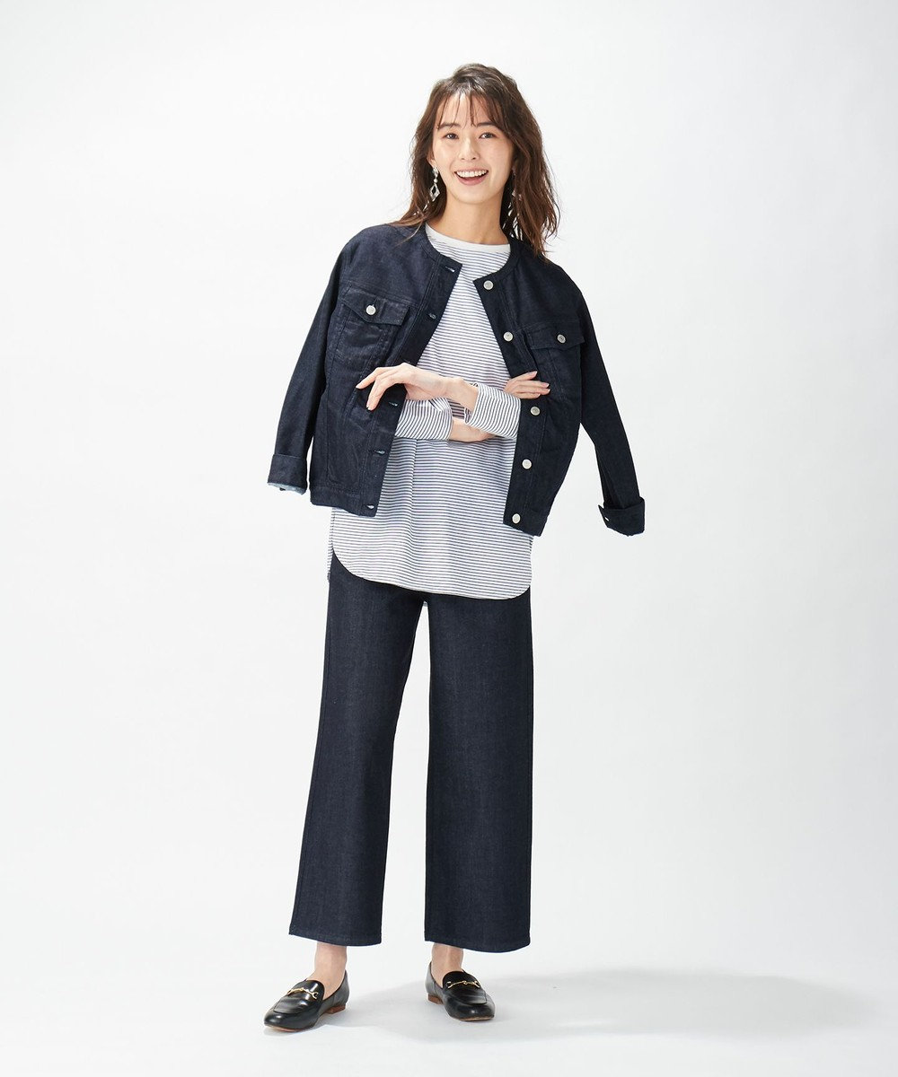 J.PRESS LADIES 【洗える】レヤードTEE ボーダーカットソー ホワイト系1