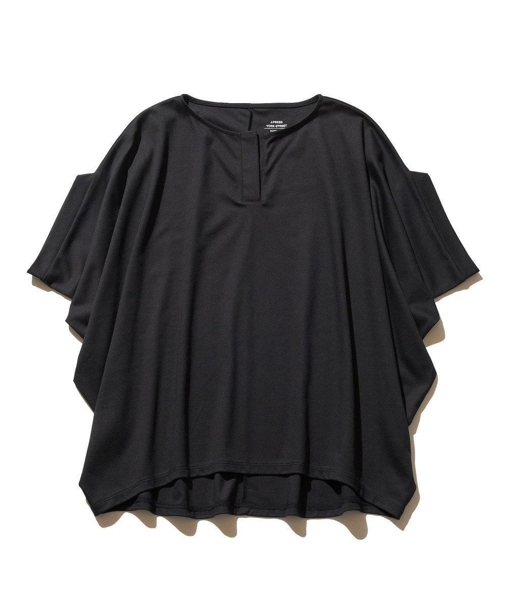 J.PRESS YORK STREET 【WOMEN】ハイゲージスムース キーネック Tシャツ ブラック系