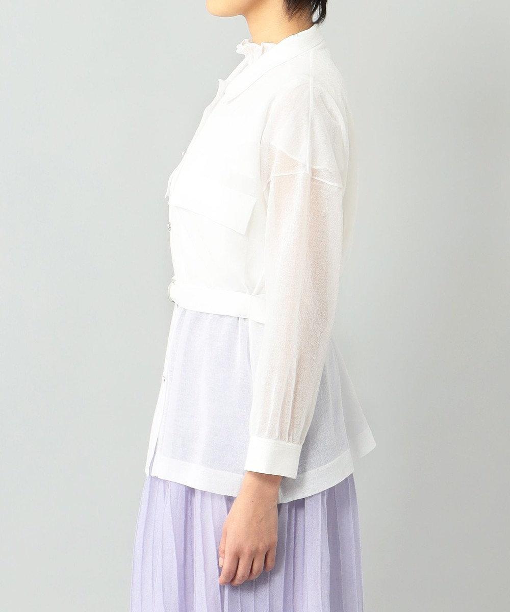 GRACE CONTINENTAL シアーニットシャツブラウス ホワイト