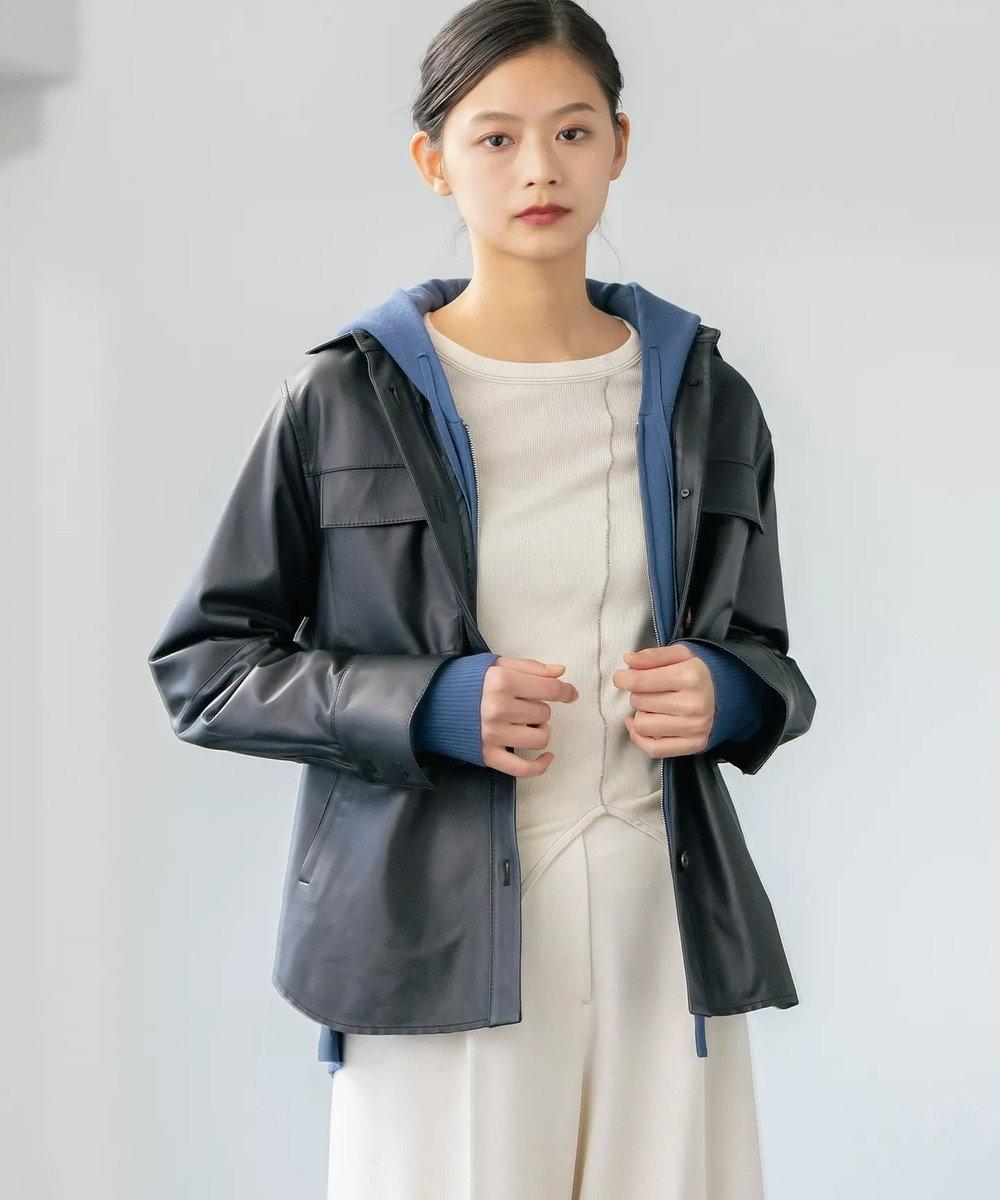 JOSEPH 【JOSEPH STUDIO】レザーシャツジャケット ブラック系