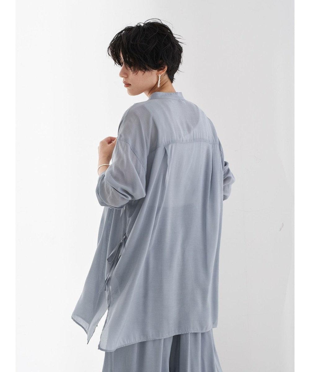 YECCA VECCA マルチwayシルキーロングシャツ Grayish Blue
