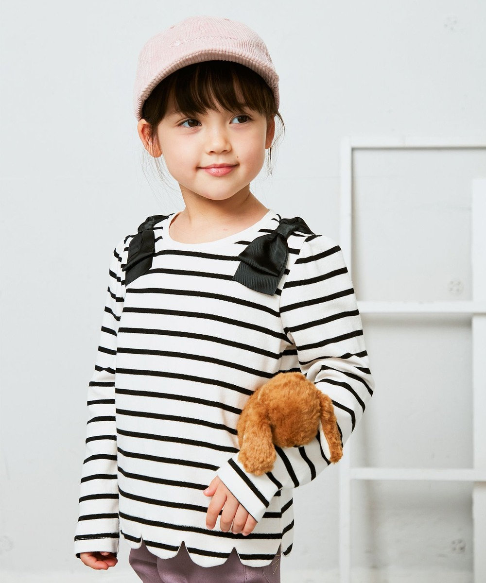 any FAM KIDS 裾スカラップボーダー 長袖Tシャツ シロ×クロ ボーダー