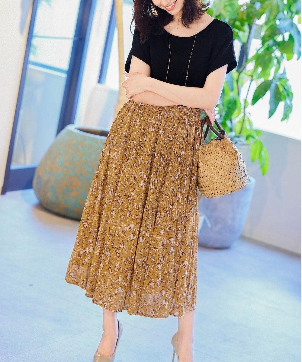 Tiaclasse 【洗える】大人上品なシフォンジョーゼットケシプリーツスカート マスタード