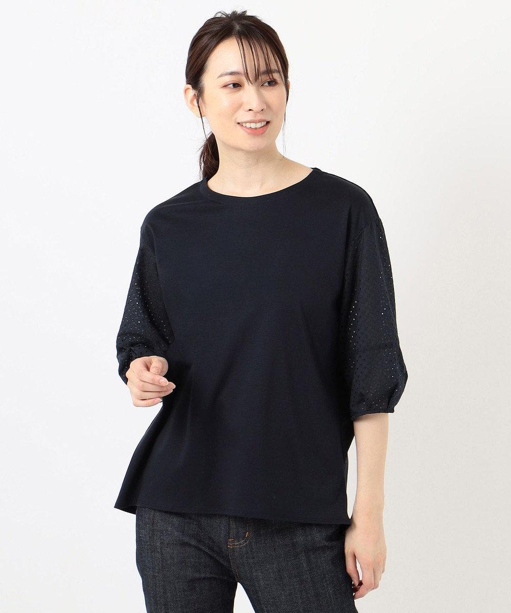 J.PRESS LADIES スムースジャージー 刺繍袖 カットソー ネイビー系
