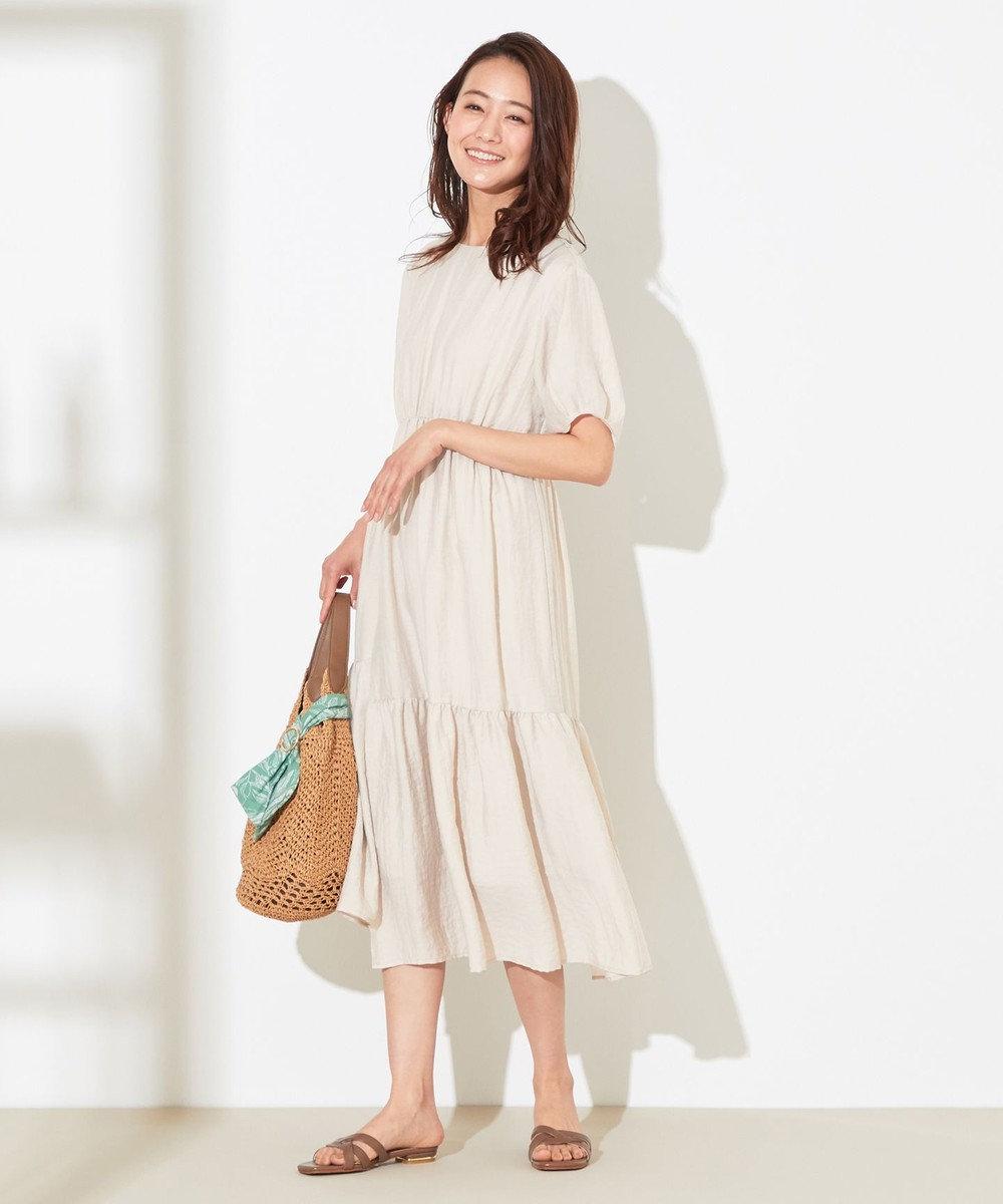 any SiS L 【洗える】イレヘムティアード ワンピース アイボリー系