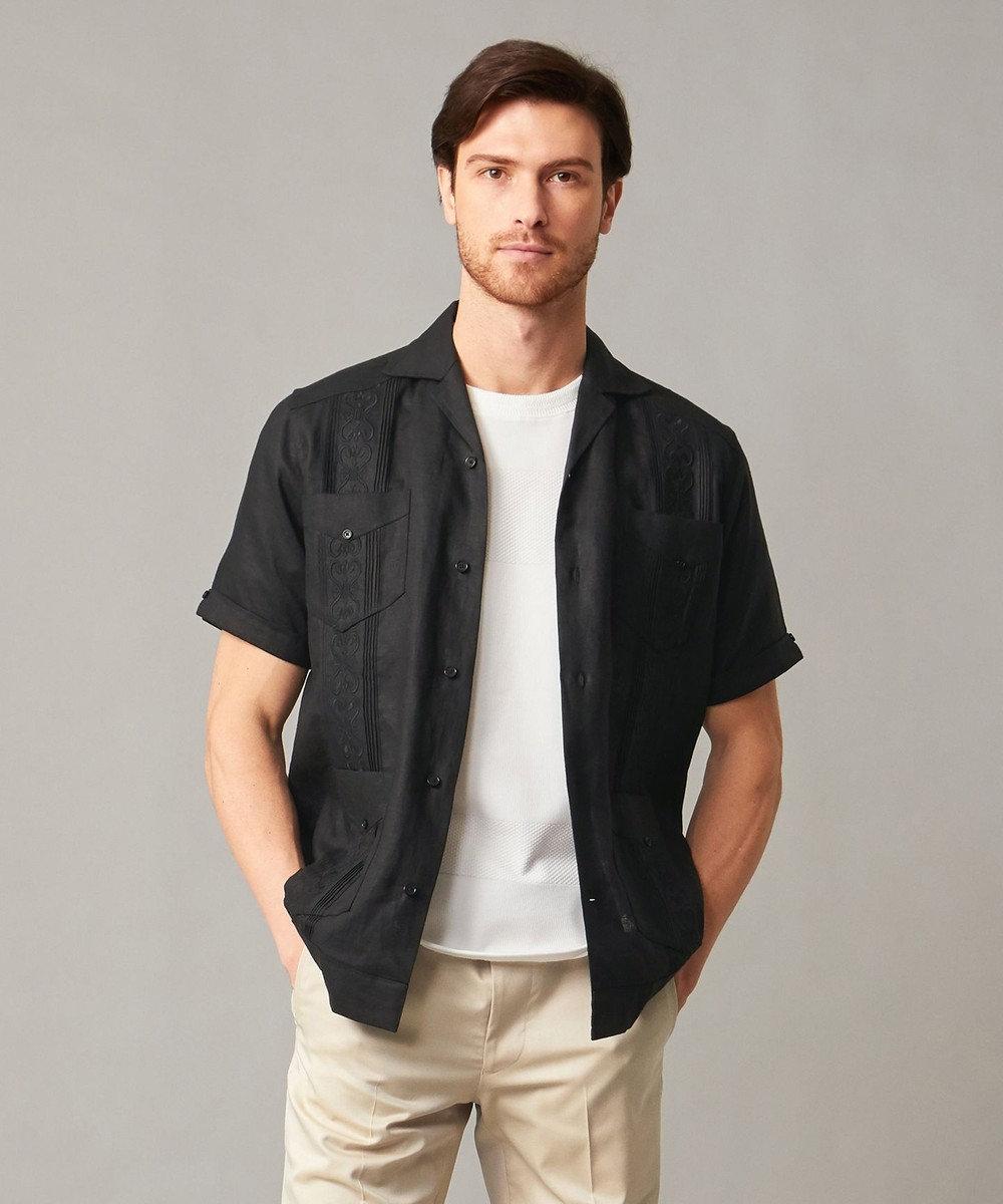 DAKS 【さらっと羽織れる】リネンキューバシャツ ブラック系