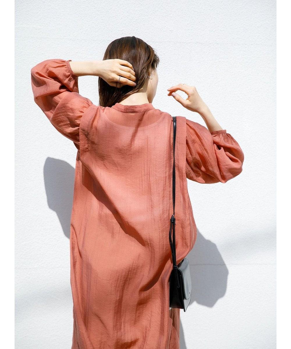 koe インナー付シアーロングシャツワンピース Orange