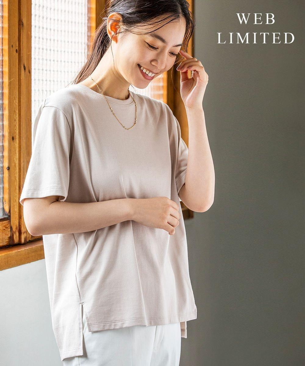 J.PRESS LADIES 【WEB限定】防汚Tシャツ 半袖 ベージュ系