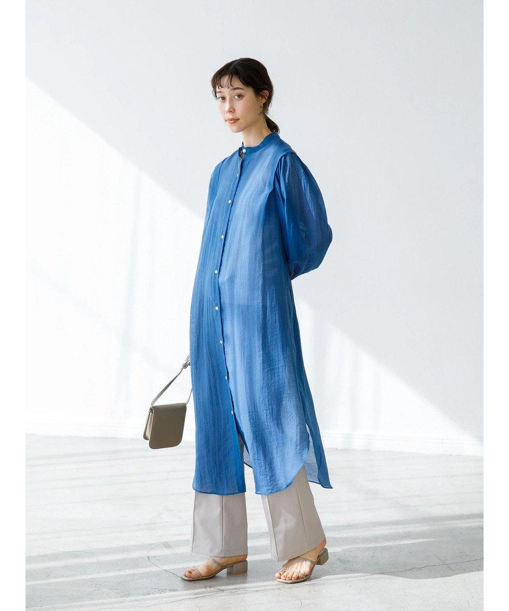 koe インナー付シアーロングシャツワンピース Blue