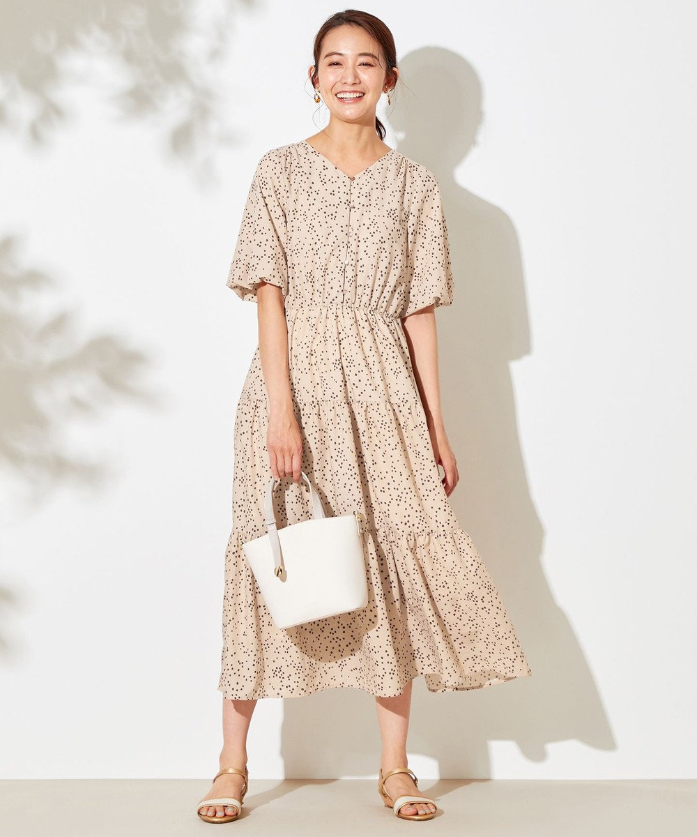 any SiS 【洗える】シルキーティアード ワンピース ベージュ×ブラウン
