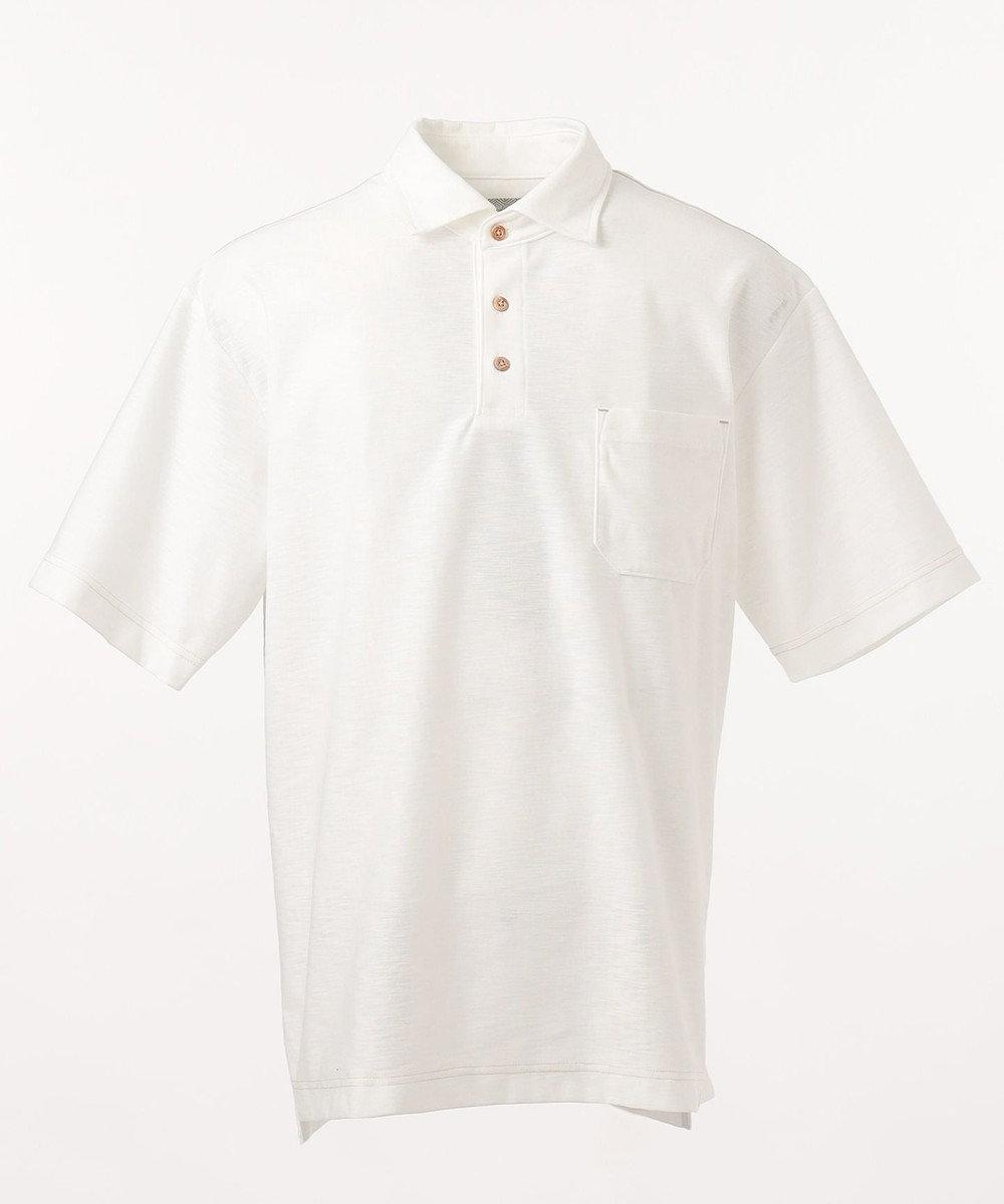 JOSEPH ABBOUD 【SPACE】OGスラブプレーティング天竺 ポロシャツ ホワイト系