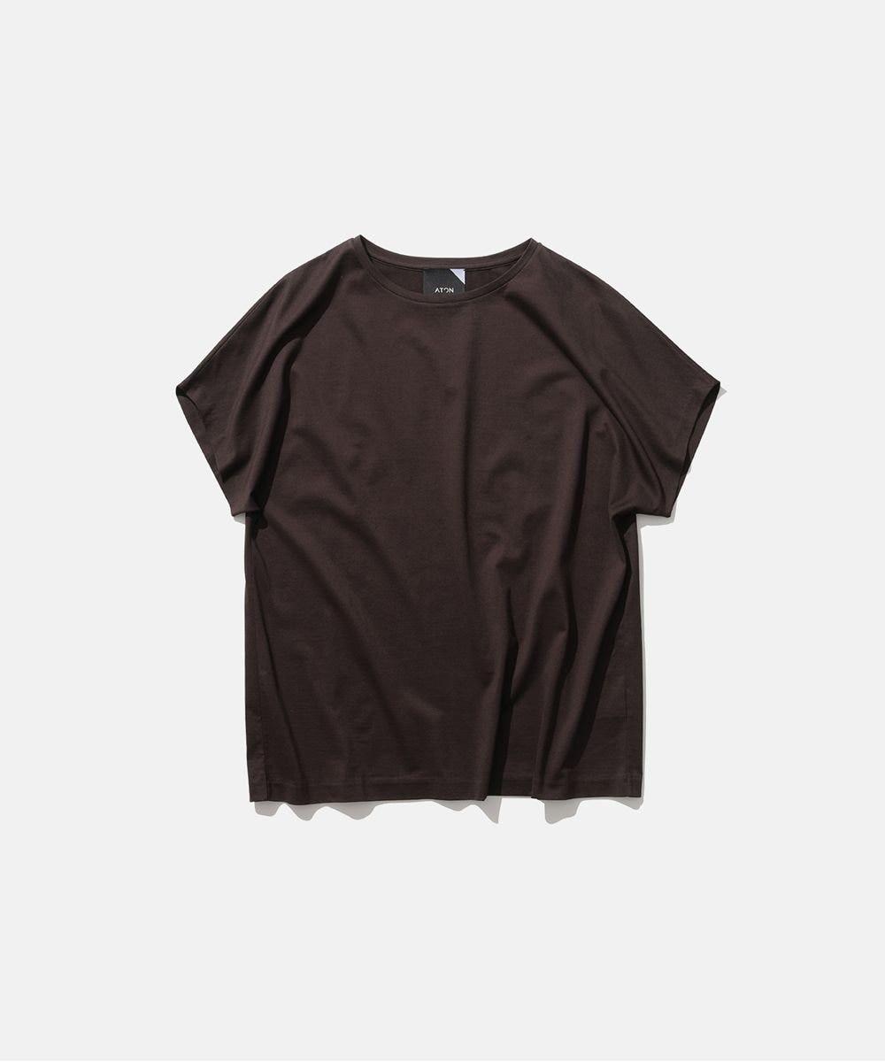 ATON SUVIN 60/2   キャップスリーブTシャツ BROWN