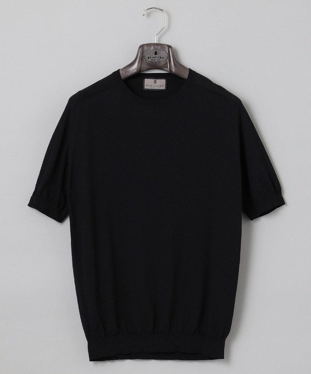 GOTAIRIKU 【大人のカジュアルTOPS&ジャケットinにも】ニットTシャツ ブラック系