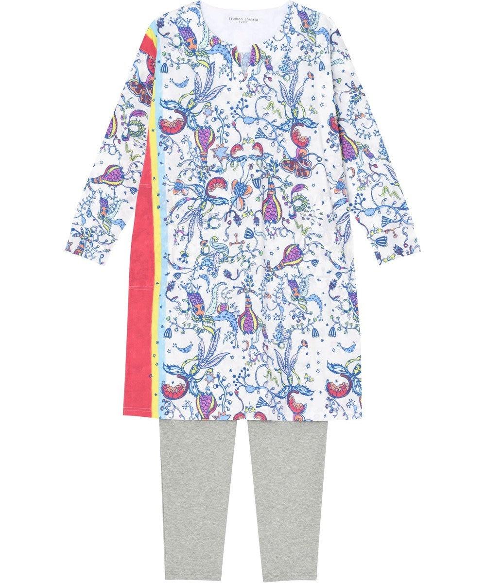tsumori chisato SLEEP パジャマ ロング袖ロングパンツ 陽気な花柄 /ワコール UDO255 アイボリー
