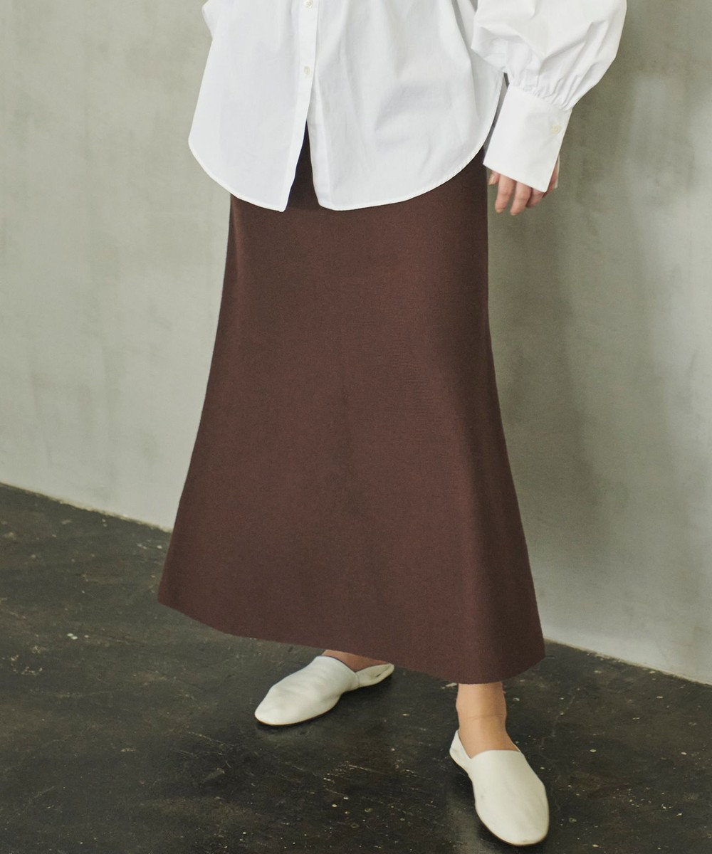 #Newans 【おうちで洗える】コットンウールニットスカート ブラウン系