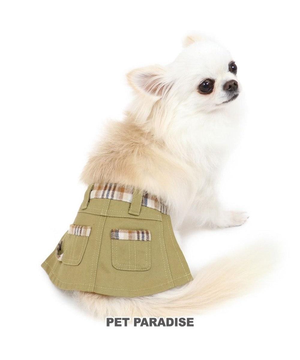 PET PARADISE 犬 服 マナースカート【小型犬 】 チェック サニタリーパンツ おむつ オムツカバー 抗菌 防臭 カーキ