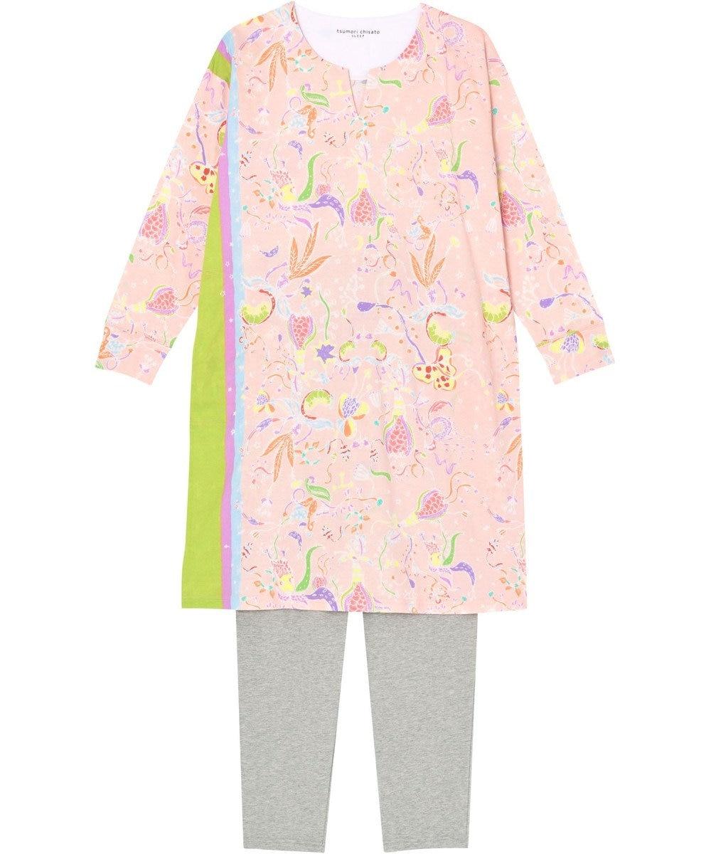 tsumori chisato SLEEP パジャマ ロング袖ロングパンツ 陽気な花柄 /ワコール UDO255 ピンク