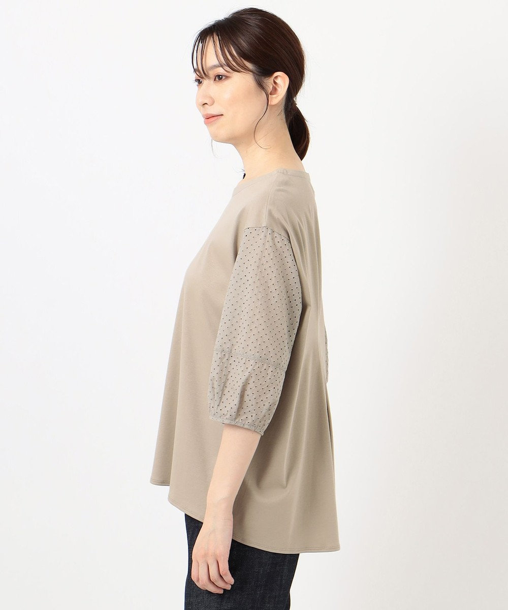 J.PRESS LADIES スムースジャージー 刺繍袖 カットソー ブラウン系
