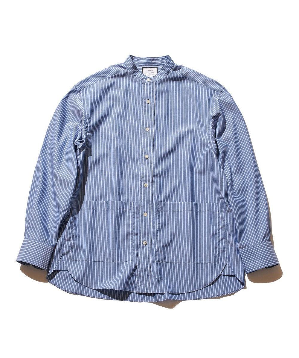 J.PRESS YORK STREET 【UNISEX】タイプライターストライプ バンドカラーシャツ ブルー系1