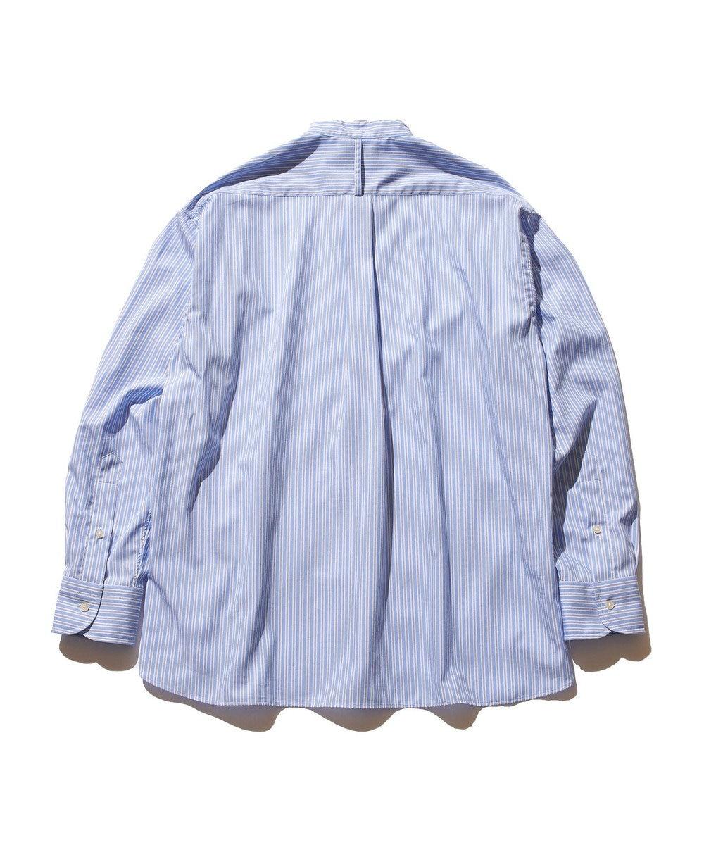 J.PRESS YORK STREET 【UNISEX】タイプライターストライプ バンドカラーシャツ サックスブルー系1