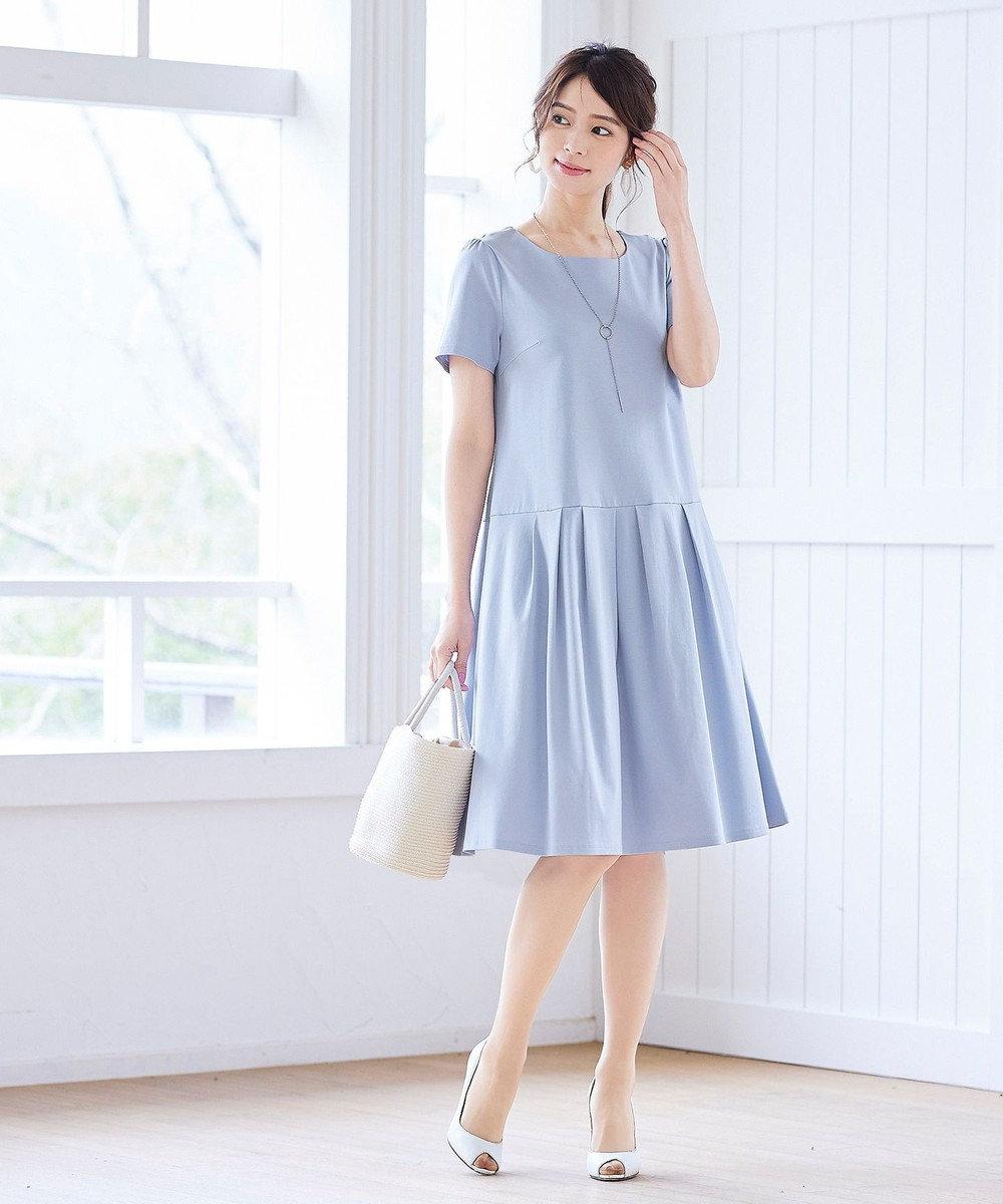 Tiaclasse 【洗える】大人可愛いローウエストタックカットワンピース ブルー