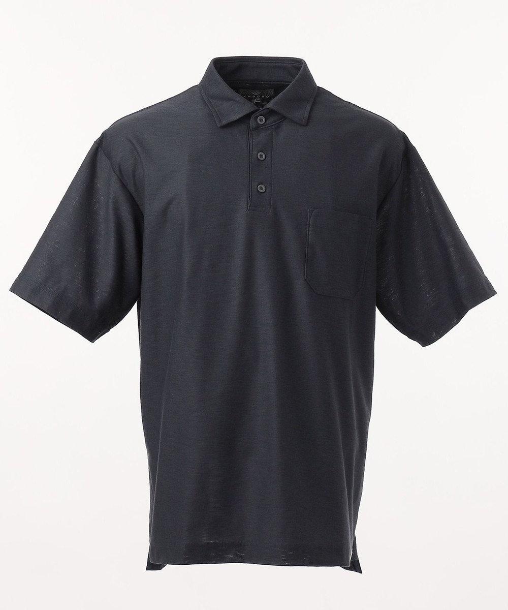 JOSEPH ABBOUD 【SPACE】OGスラブプレーティング天竺 ポロシャツ ネイビー系