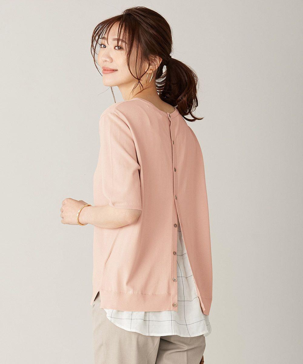 J.PRESS LADIES L 【洗える】シャインバックキュプラ ニット ピンク系