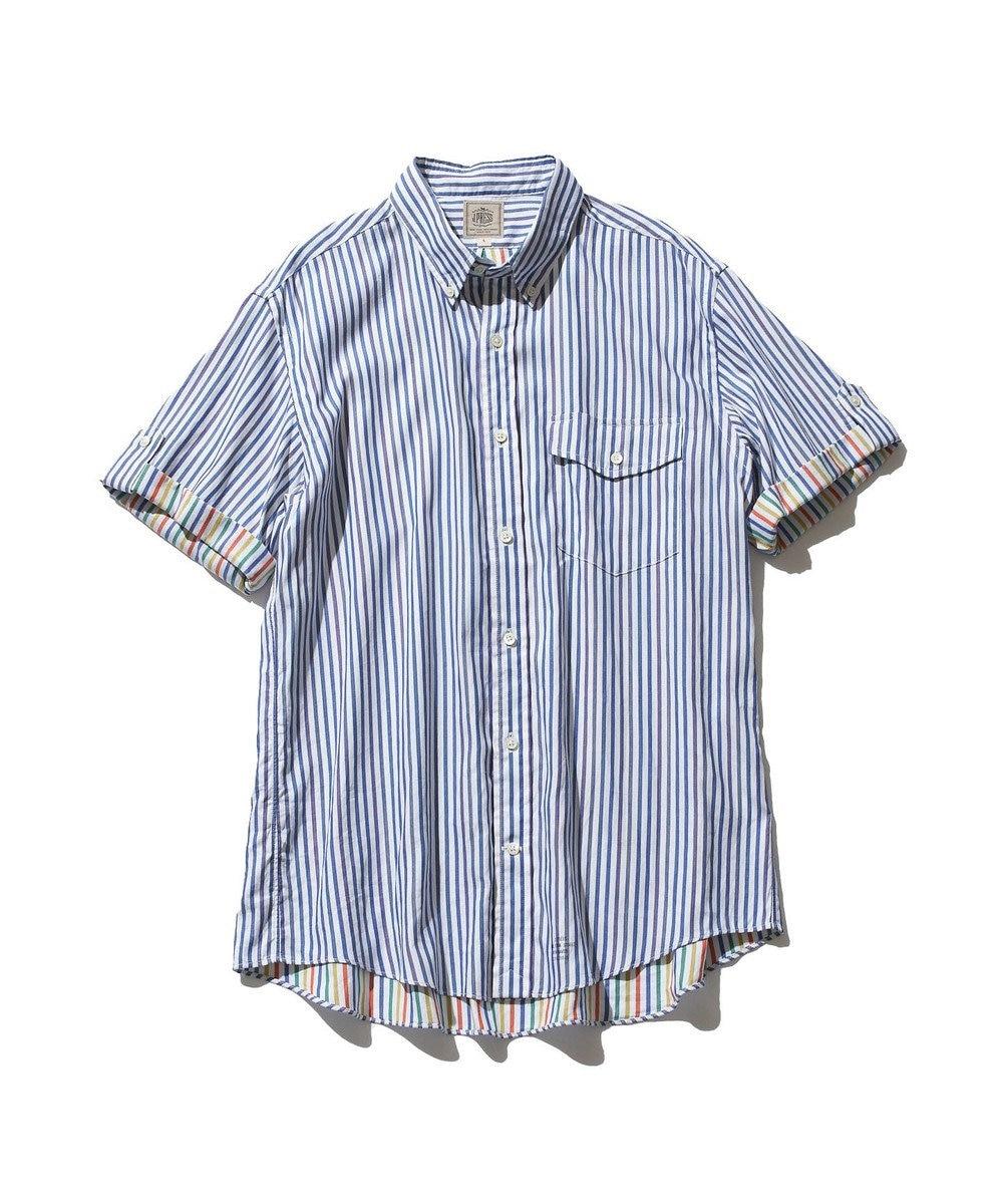 J.PRESS MEN ダブルチューブ マルチストライプ シャツ ネイビー系1