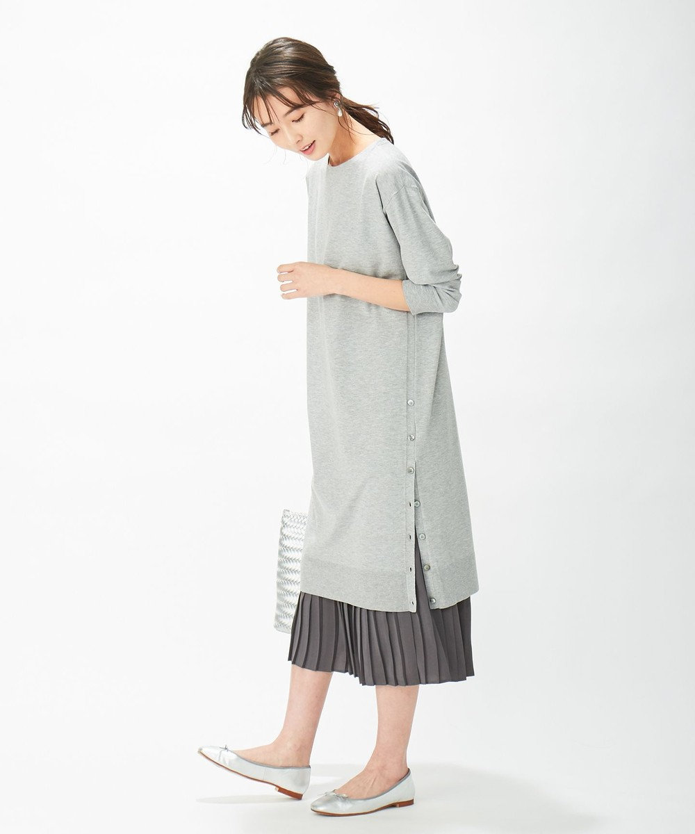 J.PRESS LADIES L 【洗える】ワンピ+プリーツスカート ツインセットワンピース ライトグレー系
