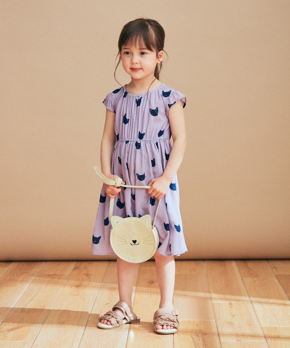 any FAM KIDS 総柄サマー ワンピース ねこ