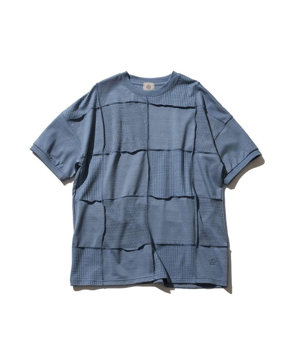 J.PRESS MEN 【大人気】フォギーダイ パッチワークTシャツ サックスブルー系