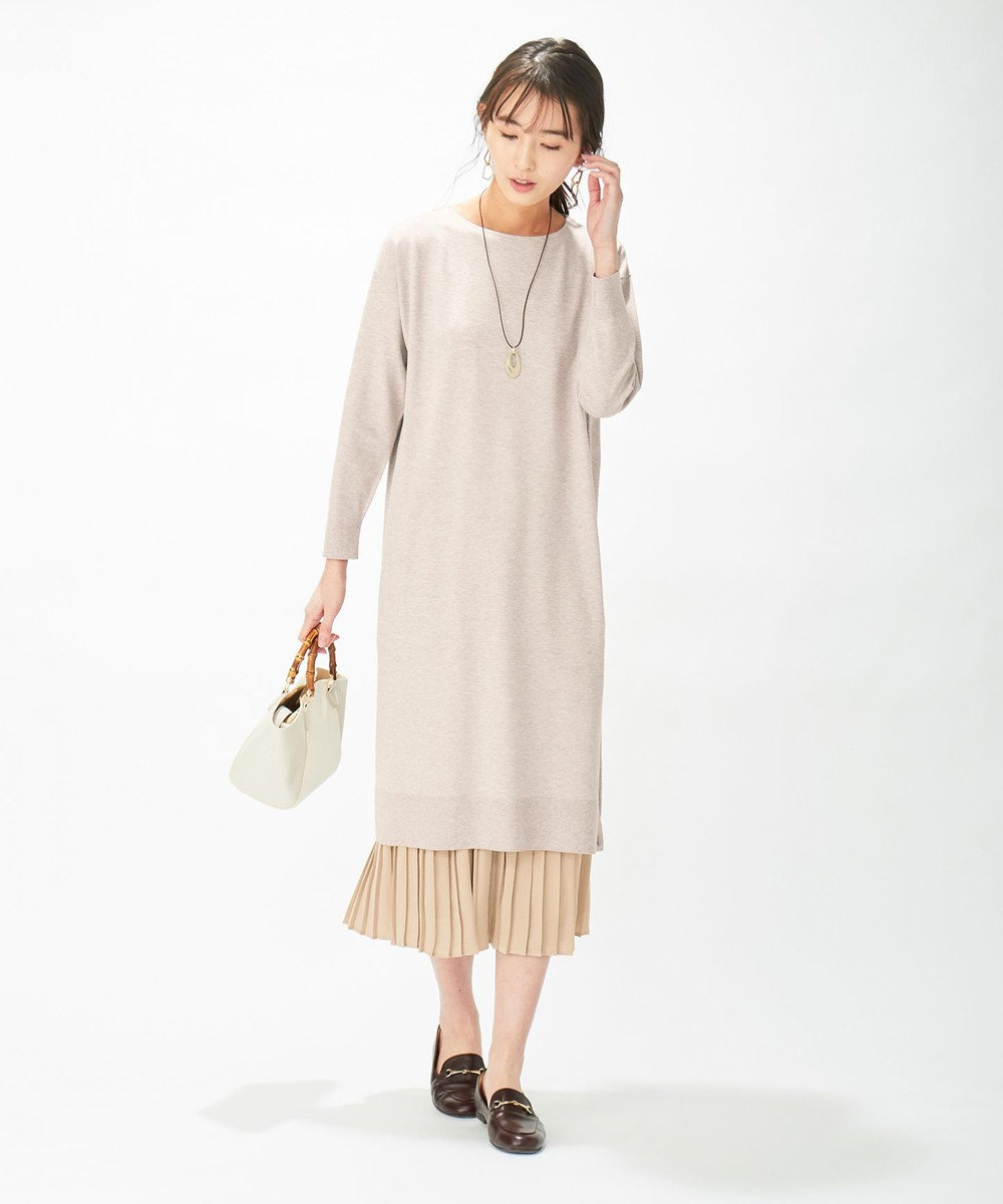 J.PRESS LADIES L 【洗える】ワンピ+プリーツスカート ツインセットワンピース ベージュ系