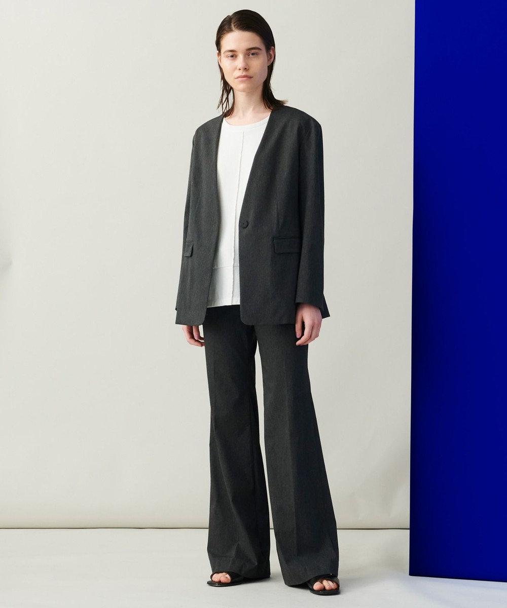 JOSEPH 【柚香 光さん着用】メランジバイストレッチ ノーカラージャケット グレー系