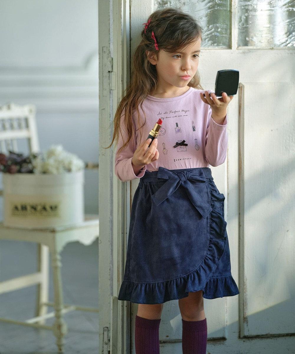 組曲 KIDS 【150-170cm】リボンベルト付き スエードライクフリル スカート ネイビー系