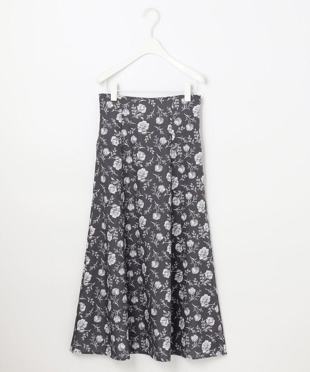 Feroux 【洗える】スモーキートーンフラワー スカート ブラック系3