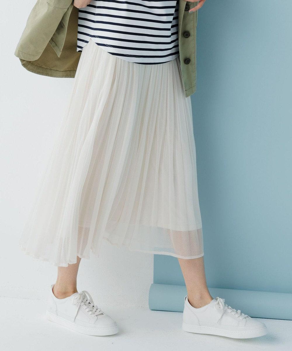 any SiS L 【洗える】ブライトシアープリーツ スカート アイボリーベージュ